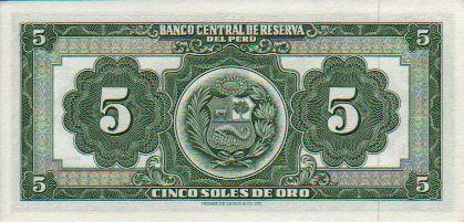 08//1974 Peru Pick-Nr: 99c Banknoten f/ür Sammler bankfrisch 1974 5 Soles